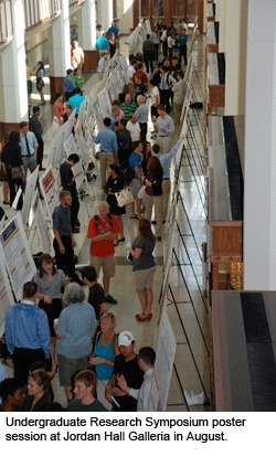 Undergraduate Research Symposium poster session at Jordan Hall Galleria in August 2011