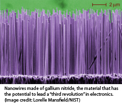 Nanowires made of gallium nitride, the material that has the potential to lead a