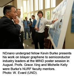 NDnano undergrad fellow Kevin Burke presents his work on binary graphene to semiconductor industry leaders at the MIND poster session